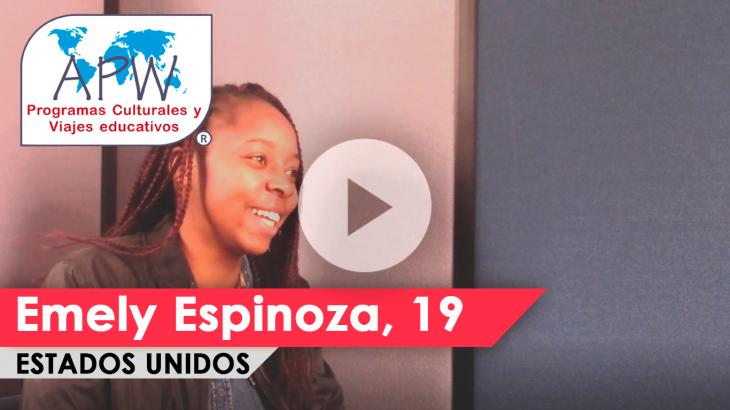 Emely Espinoza viajó a Estados Unidos